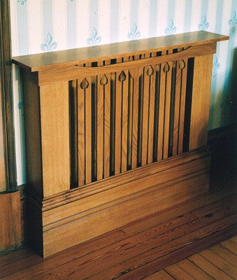 photograph of oak veneered radiator cabinet